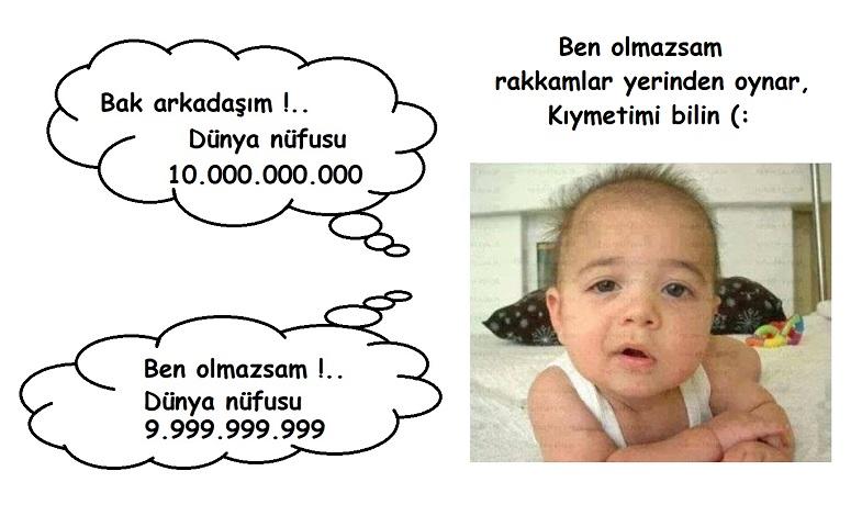 Yakışıklı ve bitirim bebek olaya farklı yaşlaşmış :) Dünya nüfusu 10.000.000.000 ben olmazsam 9.999.999.999 diyor ki doğru da diyor!